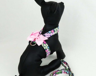 "Tiny Dog Harness ""Amore"" with Leash - Floral Dog Harness - Pink Floral Puppy Harness - Small Dog Harness - Teacup Harness - Pocket Dog"