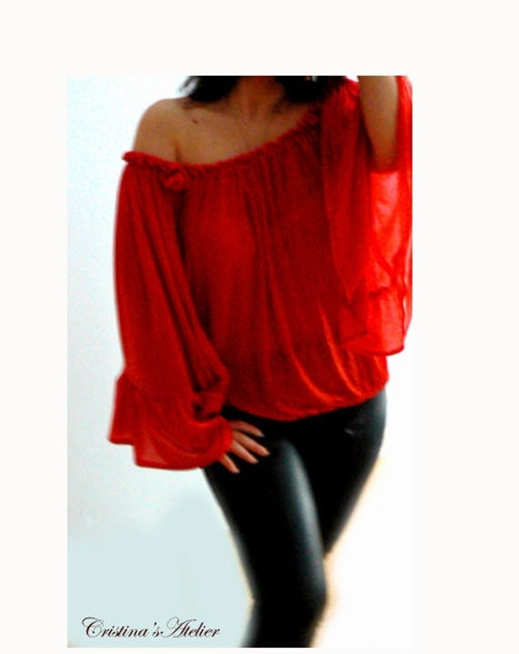 Red shoulder blouse- Flowing knit top- Boho romantic red blouse- Women long sleeves top -Fashion knit top -Valentine's gift