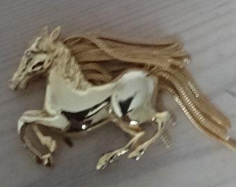 Large vintage horse brooch