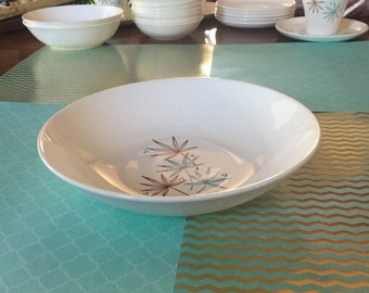 Free Shipping Stetson China Vintage Mid Century Modern Serving Bowl White Turquoise and Brown Leaf and Dot Pattern