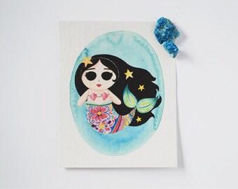 Mexican Mermaid Paper Print - Mermaid Print on Handmade Paper - Mermaid Print - Watercolor Art Print - Mexican Folklore Art