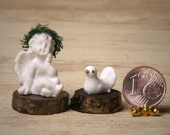Cute Miniature Cherub with Dove for Your Dollhouse