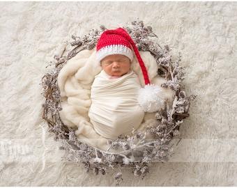 Newborn Santa Hat - Red and White Infant Hat - Christmas Photo Prop Hat - Newborn Elf Hat