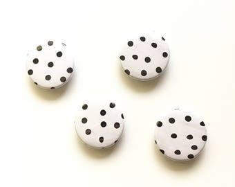 Polka Dot Magnet / Black and White Home Decor / Fridge Magnet / Locker Magnet / Dorm Decor / Office Organizer / Stocking Stuffer