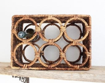 Vintage Wine Rack Rattan Wine Storage Boho Home Decor Kitchen Bar Christmas Gift