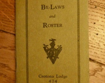 Vintage Knights of Pythias By-Laws and Roster - Crotona Lodge in Bronx, NY 1920s