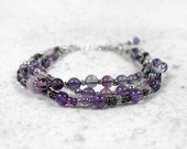 Amethyst  Fluorite Multi Strand Bracelet February Birthstone Sterling Silver Gipsy Bracelet Purple Grey Boho Crown Chakra