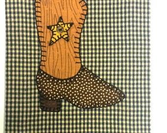 Cowboy Applique, Cowboy Kitchen Towel, Cowboy Tea Towel, Cowboy Boot Kitchen Towel, Cowboy Boot Applique Tea Towel, Cowboy Boot Applique