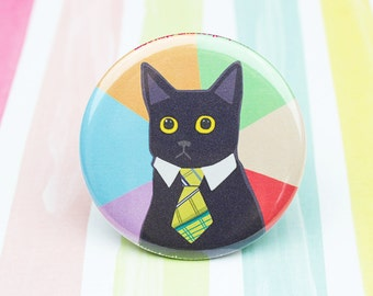 Funny Cat Pin, Business Cat Meme Button, Funny Cat Pin, Stocking Stuffer, Meme Pin Back Button, Meme Magnet, Business Cat, Cat Lover Gift