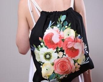 backpack canvas Tiny Blütenschön black