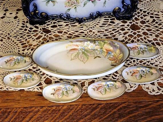 Antique Nippon Serving Bowl Set / Moriage Gold Beaded Porcelain Nut Set/ 6 Salt Cellars