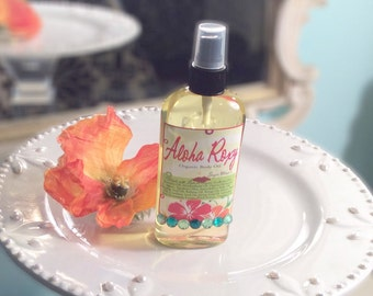 Aloha Roxy Organic Body Oil - Sweet & Sassy Tropical Fruits with Fizzy Dazzle  - Massage Oil - Organic Argan Oil - 4.7 oz 99% Natural