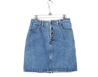 Vintage 90s Guess Denim Skirt - 90s Normcore Minimalist Guess ? Faded Denim Button Fly Mini Skirt-  90s High Waisted Guess ? Denim Skirt 32W