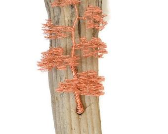 Rustic Sculpture / Wall Sculpture / Driftwood Hanging / Driftwood / Wire Tree Sculpture / Rustic Art / Wall Hanging / Bonsai Tree / Home Art