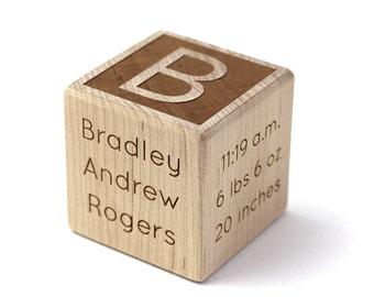 2 inch Classic Wood Baby Block, Newborn gift wood keepsake personalized baby gift