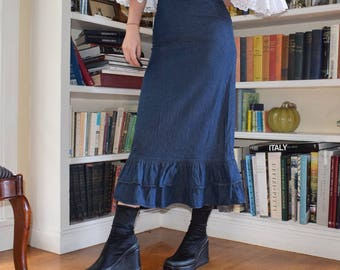 Denim Ruffle Midi Skirt