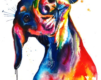 Colorful Dachshund/Wienerdog Watercolor Print - Art Print of my Original Painting
