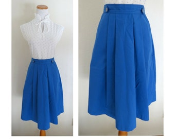 Blue High Waisted Skirt 70s 80s Pockets Midi Spring Summer 1970s Size Small