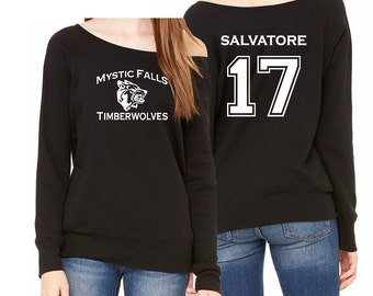 Vampire Diaries Mystic Falls Timberwolves Salvatore 17 Off Shoulder Sweatshirt