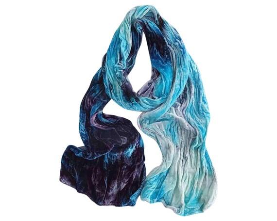 "Blue velvet scarf, luxe fashion, velvet, crushed velvet, turquoise, blue violet, blue grey, violet, grey, navy, hand dyed, 13""x59"", luxe"