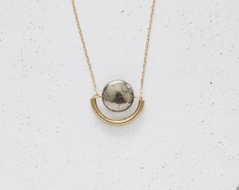 Brass Pyrite Minimal Semicircle Pendant Necklace