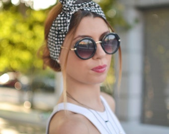 Polka Dot Turban, Workout Head Scarf, Black Headband, Headband Adult, Woman Top Knot, Cotton Head Wrap, Pin Up Headband, Bow Headband Turban