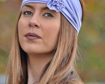Boho Headband, Jersey Headband, Lilac Headband, Lace Headband, Running Turban, Yoga Turban, Workout Headband, Womens Turban, Womens Headband