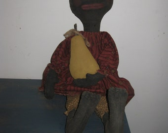 Primitive Black Doll with Pear