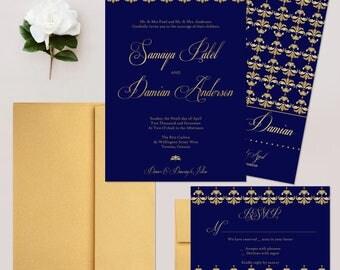 Navy Damask Wedding Invitations, Navy Invites, Calligraphy Wedding Invitation Set - DEPOSIT
