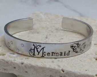 Mermaid pretty floral font boho hippy 12mm cuff bracelet, handstamped