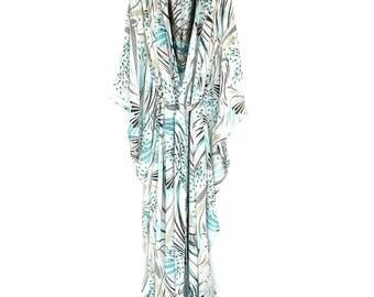 ilk kimono, silk kaftan robe, silk robe, silk kaftan, silk beach cover up, silk kimono, long silk kimono, silk chiffon kimono,