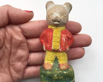 Miniature Rupert the Bear figurine - little ceramic animal, English childhood character, pottery collectible, chalkware, 1950s
