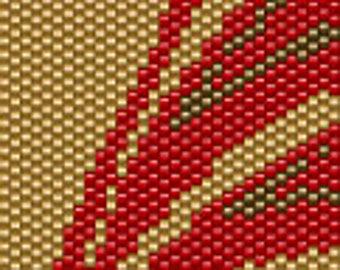 Red Silhouette Bird Seed Bead Peyote Cuff Beaded Bracelet Pattern