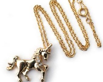 gold colour unicorn necklace