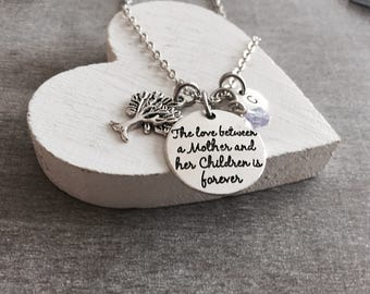 The love between a mother and her children is forever, Mother, Mother quote, Mother Daughter, Silver Necklace, Charm Necklace, Jewelry,