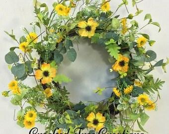 Spring Wreath, Summer Wreath, Wispy Wreath, Wildflower Wreath, Summer Floral, Garden Wreath, Woodland Wreath, Yellow Wreath, Spring Floral