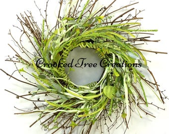 Spring Wreath, Summer Wreath, Leaf Wreath, All Seasons Wreath, Wispy Wreath, Green Wreath, Spring Wreaths, Cottage Wreath, Coastal Wreath