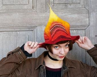 Hand felted designer hat, fantasy wizard hat, floppy brim witch hat, red yellow hat, wearable art, bohemian fashion, fantasy festivals, OOAK
