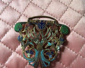 Vintage Art Nouveau Edwardian Clothing Belt Buckle Enamel Metal Destash Arts Crafts Repurpose Jewelry Lightweight Gold Tone Color (INV#OP)