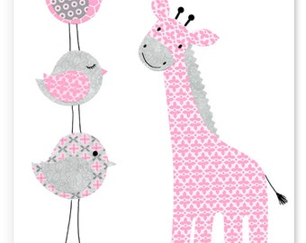 Nursery Art, Giraffe Baby Decor, Baby Room Decor, Giraffe Canvas, Nursery Canvas, Baby Girl, Grey and Pink, Zoo Nursery, Bird Nursery Decor
