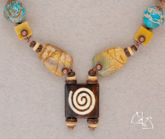 Spiral. boho Jewelry set. Ethnic necklace and pretty earrings. Jasper, variscite. Fashion, Cool gift for her.