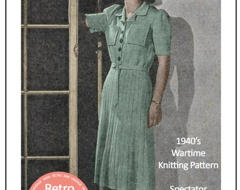 1940's Wartime Knitted Frock Pattern - PDF Knitting Pattern - Instant Download