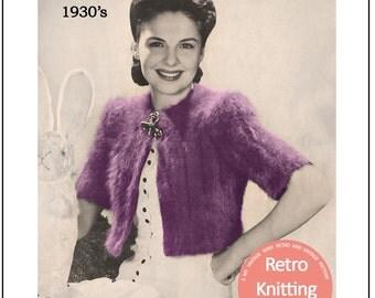 1930s Sweet Bolero Vintage Knitting Pattern - PDF Instant Download