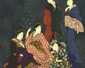 Ukiyo-e Geisha Panel: Asian Japanese Fabric (Panel 24 Inches x 22 Inches)