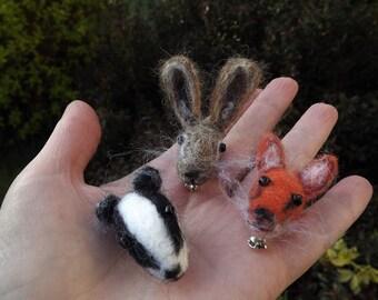 Hare, Brooch, Hare Head Brooch, Needle Felted, Gift, Animal, British Wildlife, Felted Hare, Felted, Jewellery, Jewelry, Badge, Handmade