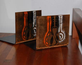 Enamel on Copper Bookend with String Instruments