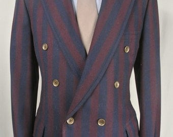 1970's Marx Made Clothes Navy Blue/Burgundy Striped Wool Double Breasted Sport Coat Men's Size: 40XL