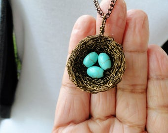 1,2,3,4,birds nest,wire wrapped pendant ,3 eggs birds pendant, nature jewelry,turquoise necklace, turquoise jewelry, birdnest, pendant, nest
