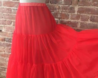 Cherry Red Crinoline Skirt - Sheer Petticoat Slip - Best Selling Vintage - Top Seller