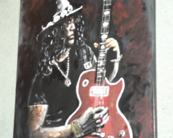 Slash, guns n roses, hand painted canvas. wood ftrame, 20x16ins, unique, great gift